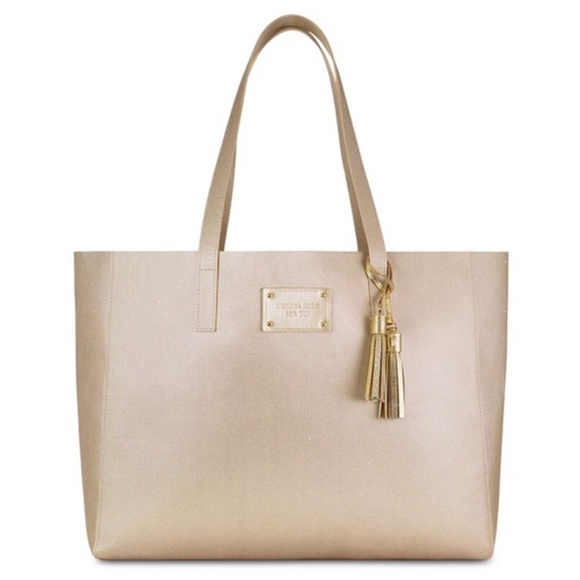 dc5bd4093298 Michael Kors Glamorous Gold Tote with Tassels